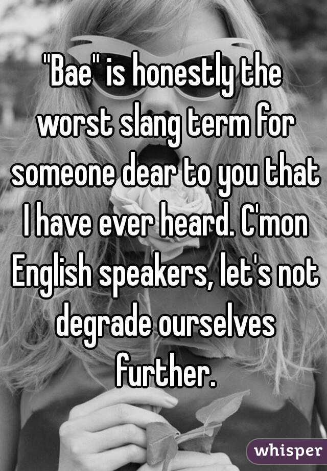 """""""Bae"""" is honestly the worst slang term for someone dear to you that I have ever heard. C'mon English speakers, let's not degrade ourselves further."""