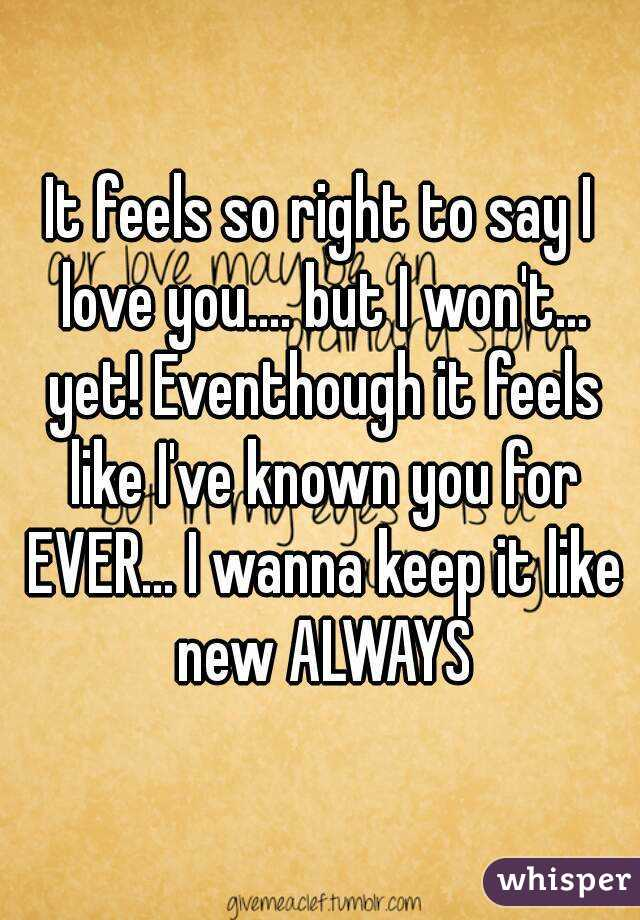 It feels so right to say I love you.... but I won't... yet! Eventhough it feels like I've known you for EVER... I wanna keep it like new ALWAYS