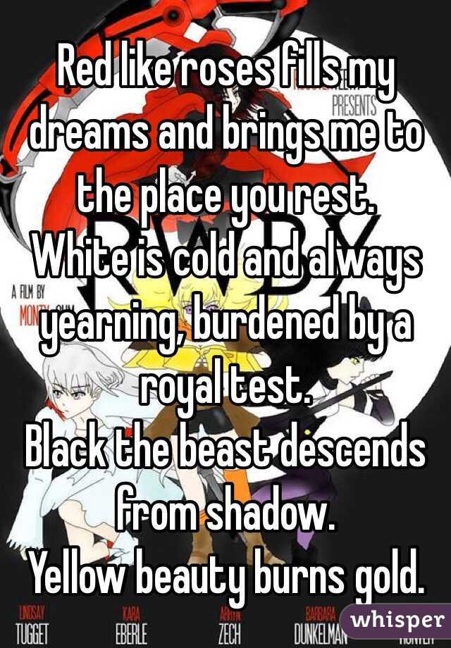 Red like roses fills my dreams and brings me to the place you rest.  White is cold and always yearning, burdened by a royal test.  Black the beast descends from shadow.  Yellow beauty burns gold.