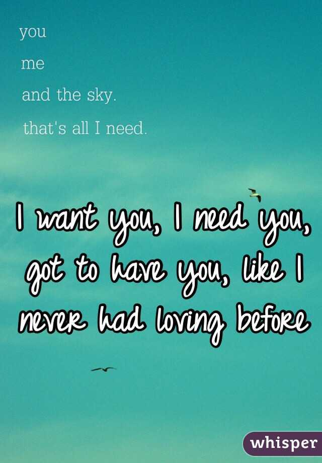 I want you, I need you, got to have you, like I never had loving before