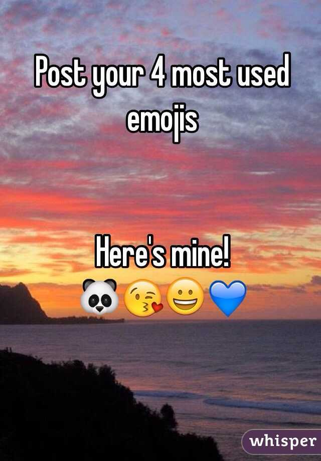 Post your 4 most used emojis   Here's mine!  🐼😘😀💙