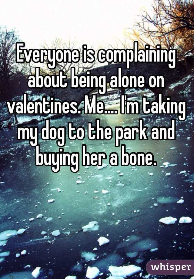 Everyone is complaining about being alone on valentines. Me.... I'm taking my dog to the park and buying her a bone.