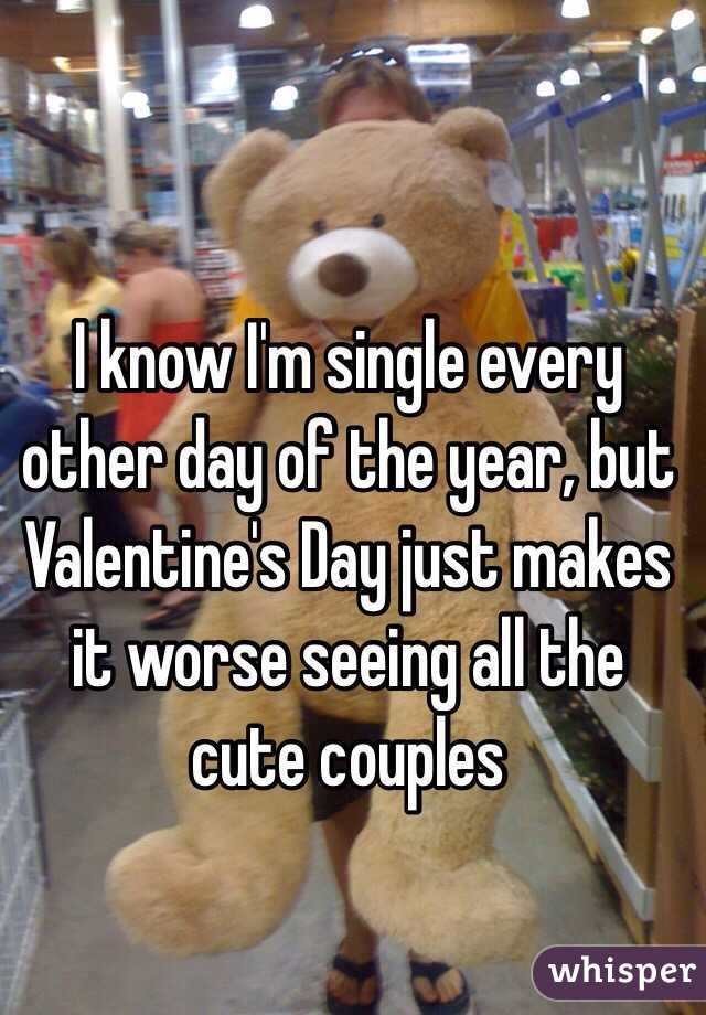 I know I'm single every other day of the year, but Valentine's Day just makes it worse seeing all the cute couples