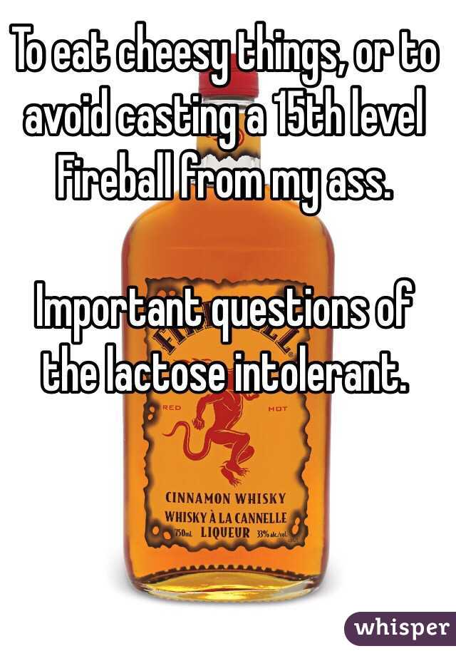 To eat cheesy things, or to avoid casting a 15th level Fireball from my ass.  Important questions of the lactose intolerant.