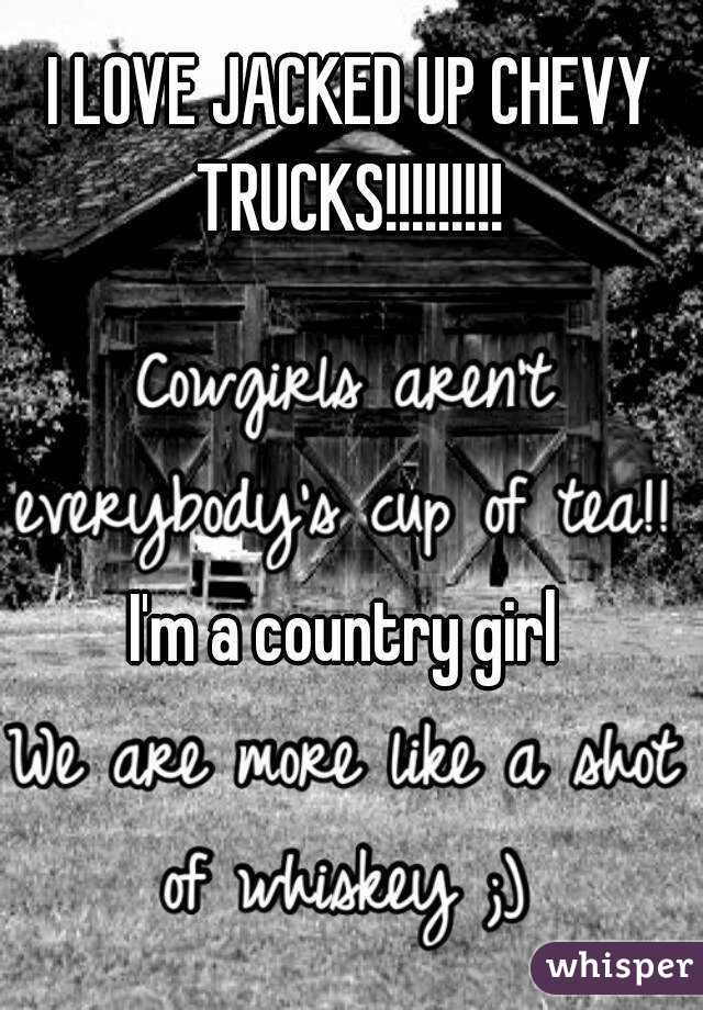I LOVE JACKED UP CHEVY TRUCKS!!!!!!!!!     I'm a country girl