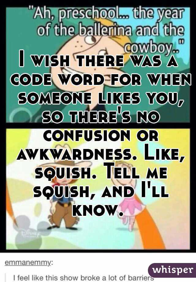 I wish there was a code word for when someone likes you, so there's no confusion or awkwardness. Like, squish. Tell me squish, and I'll know.
