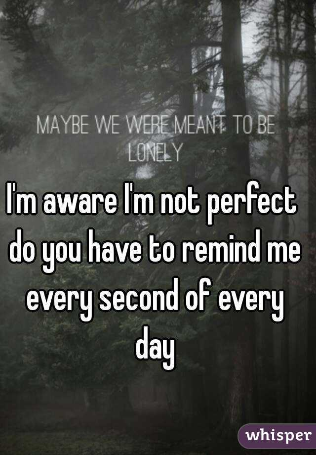 I'm aware I'm not perfect do you have to remind me every second of every day
