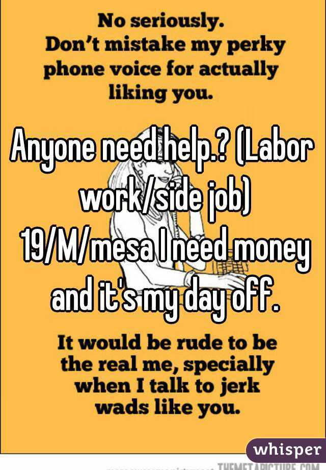 Anyone need help.? (Labor work/side job) 19/M/mesa I need money and it's my day off.
