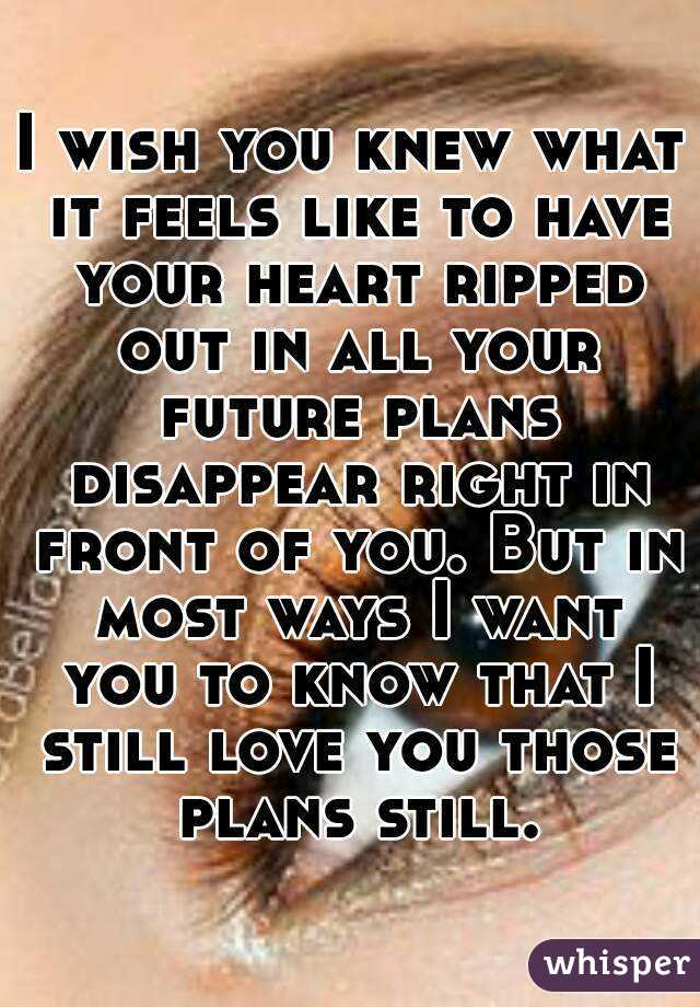 I wish you knew what it feels like to have your heart ripped out in all your future plans disappear right in front of you. But in most ways I want you to know that I still love you those plans still.