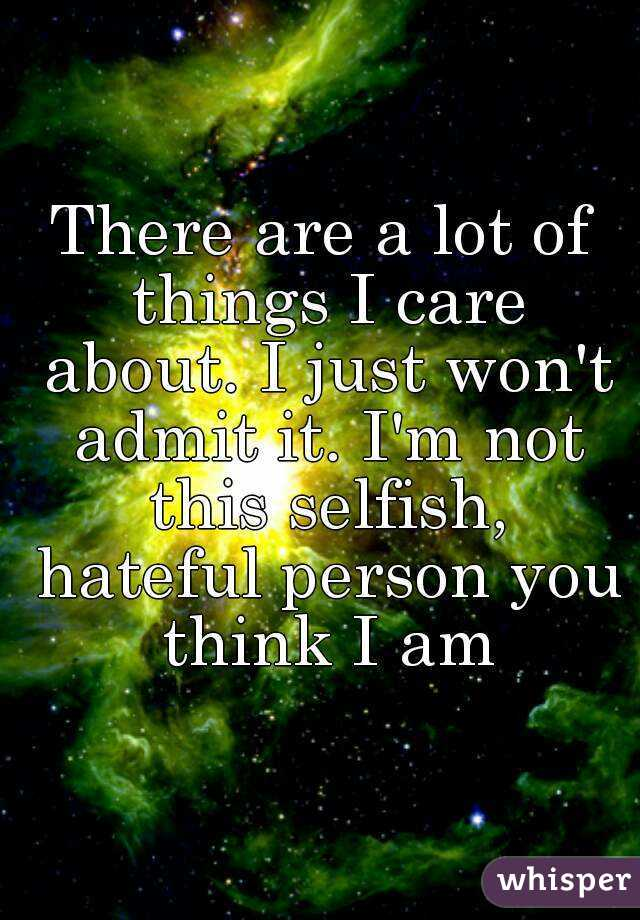 There are a lot of things I care about. I just won't admit it. I'm not this selfish, hateful person you think I am