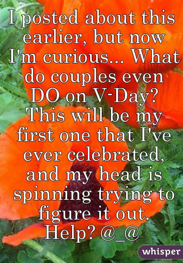 I posted about this earlier, but now I'm curious... What do couples even DO on V-Day? This will be my first one that I've ever celebrated, and my head is spinning trying to figure it out. Help? @_@