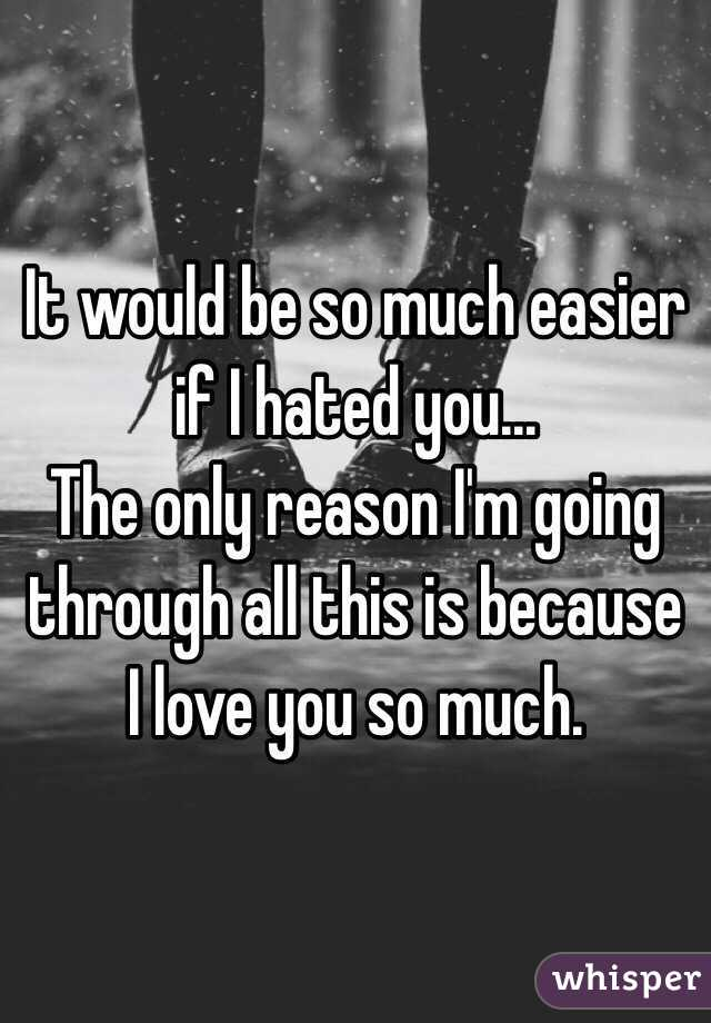 It would be so much easier if I hated you... The only reason I'm going through all this is because I love you so much.