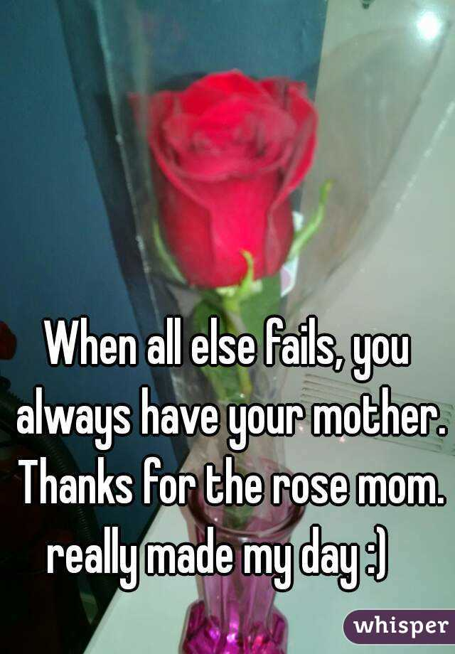 When all else fails, you always have your mother. Thanks for the rose mom. really made my day :)