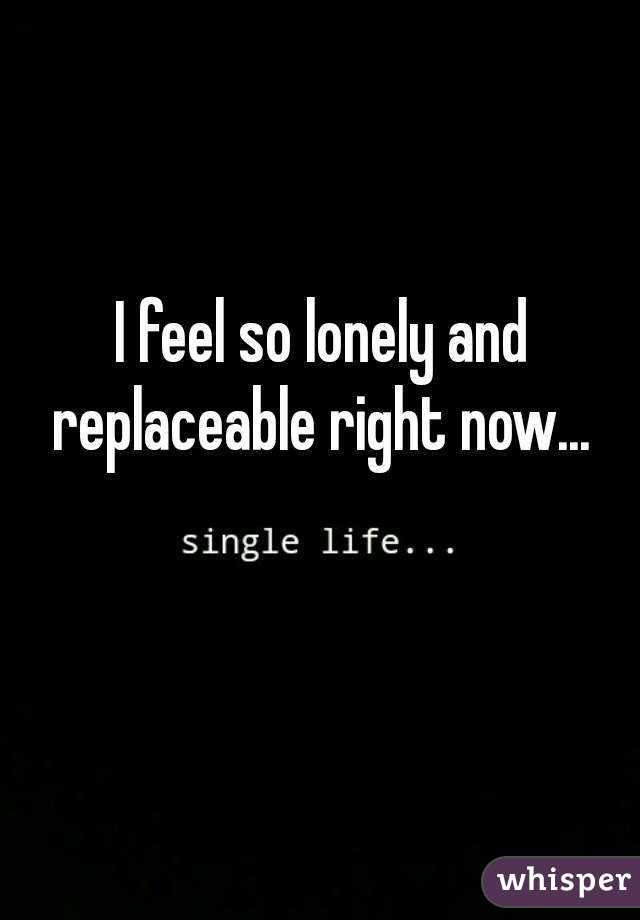 I feel so lonely and replaceable right now...