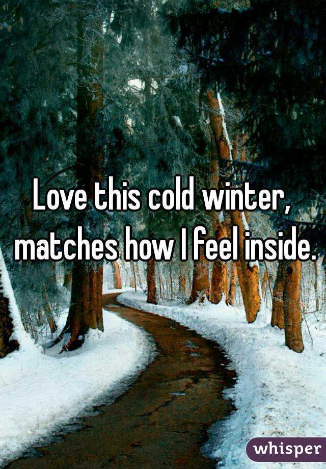 Love this cold winter, matches how I feel inside.