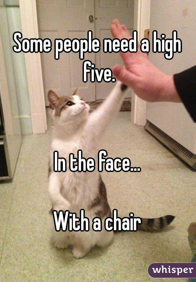 Some people need a high five.   In the face...  With a chair