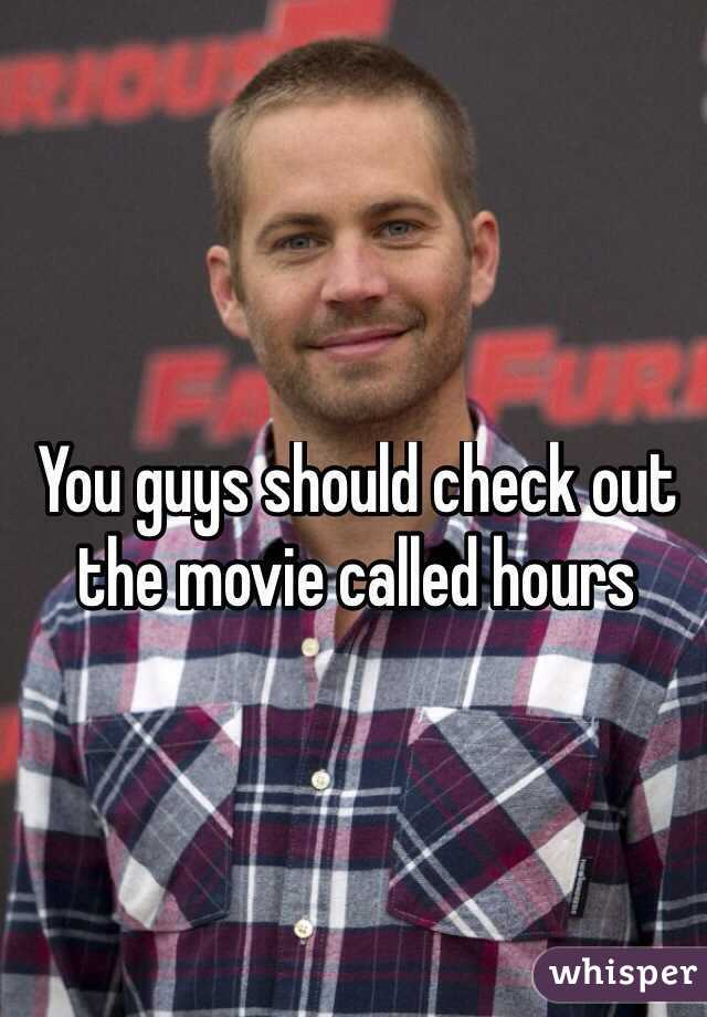 You guys should check out the movie called hours