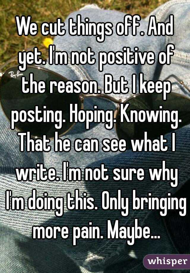We cut things off. And yet. I'm not positive of the reason. But I keep posting. Hoping. Knowing. That he can see what I write. I'm not sure why I'm doing this. Only bringing more pain. Maybe...
