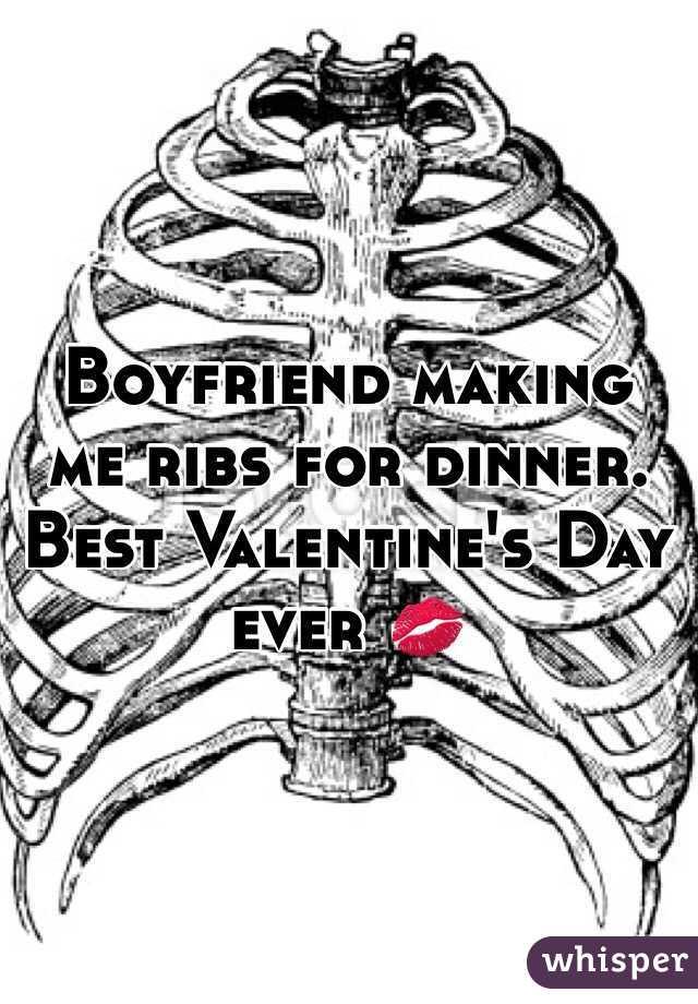 Boyfriend making me ribs for dinner. Best Valentine's Day ever 💋
