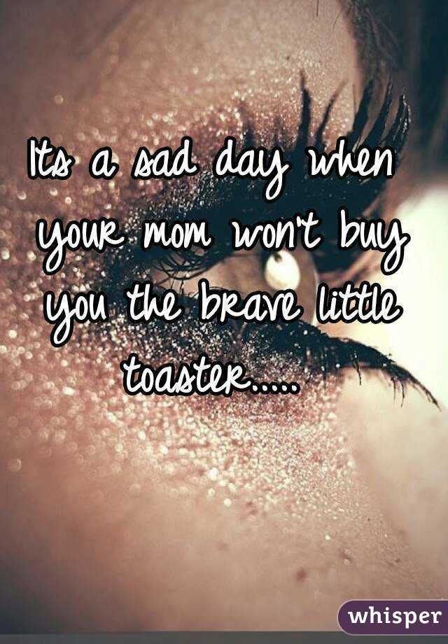 Its a sad day when your mom won't buy you the brave little toaster.....