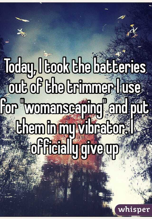 """Today, I took the batteries out of the trimmer I use for """"womanscaping"""" and put them in my vibrator. I officially give up"""