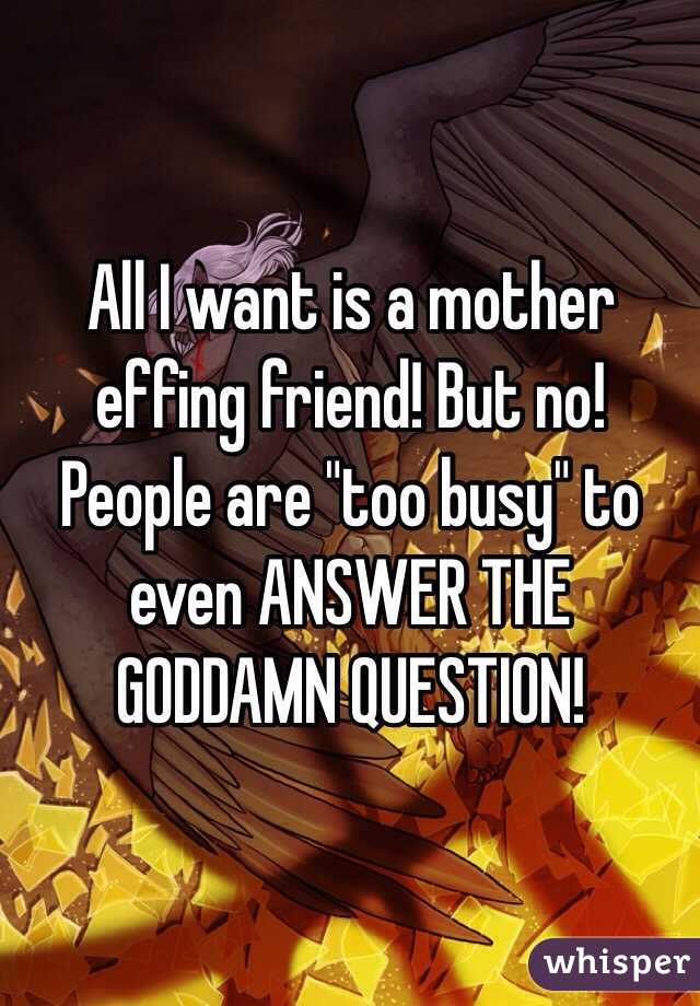 """All I want is a mother effing friend! But no! People are """"too busy"""" to even ANSWER THE GODDAMN QUESTION!"""