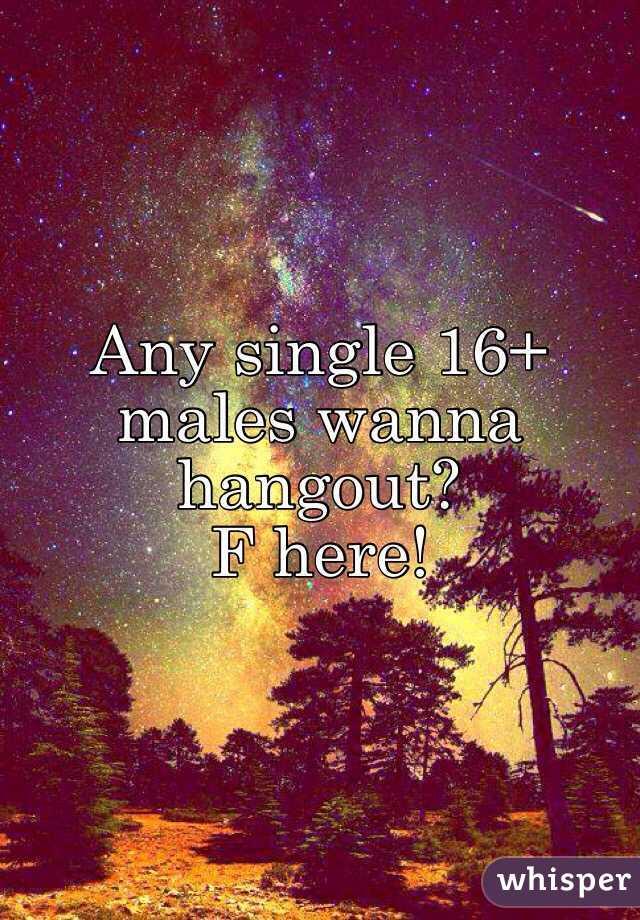 Any single 16+ males wanna hangout? F here!
