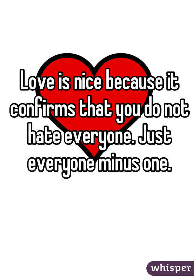 Love is nice because it confirms that you do not hate everyone. Just everyone minus one.