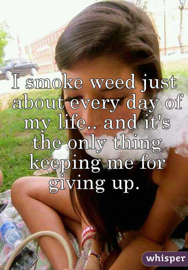 I smoke weed just about every day of my life.. and it's the only thing keeping me for giving up.