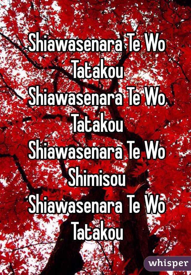 Shiawasenara Te Wo Tatakou   Shiawasenara Te Wo Tatakou   Shiawasenara Te Wo Shimisou  Shiawasenara Te Wo Tatakou