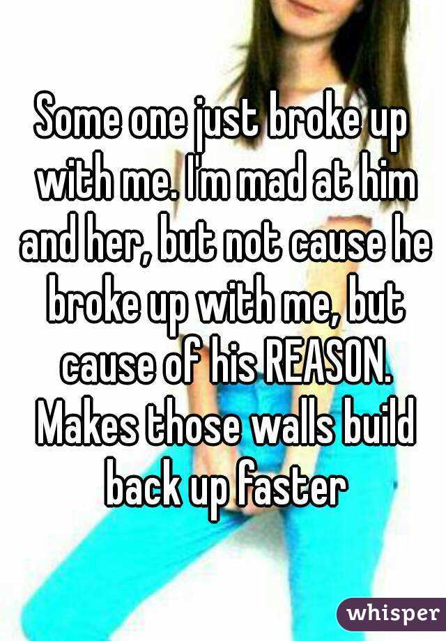 Some one just broke up with me. I'm mad at him and her, but not cause he broke up with me, but cause of his REASON. Makes those walls build back up faster