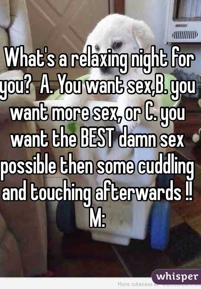 What's a relaxing night for you?  A. You want sex,B. you want more sex, or C. you want the BEST damn sex possible then some cuddling and touching afterwards !!  M: