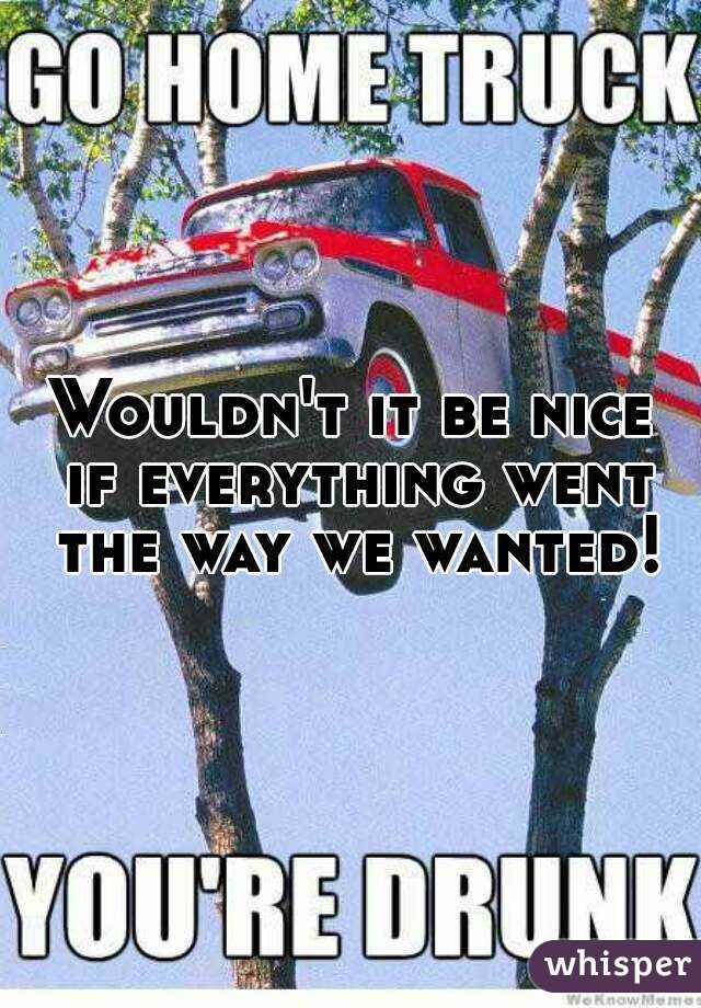 Wouldn't it be nice if everything went the way we wanted!