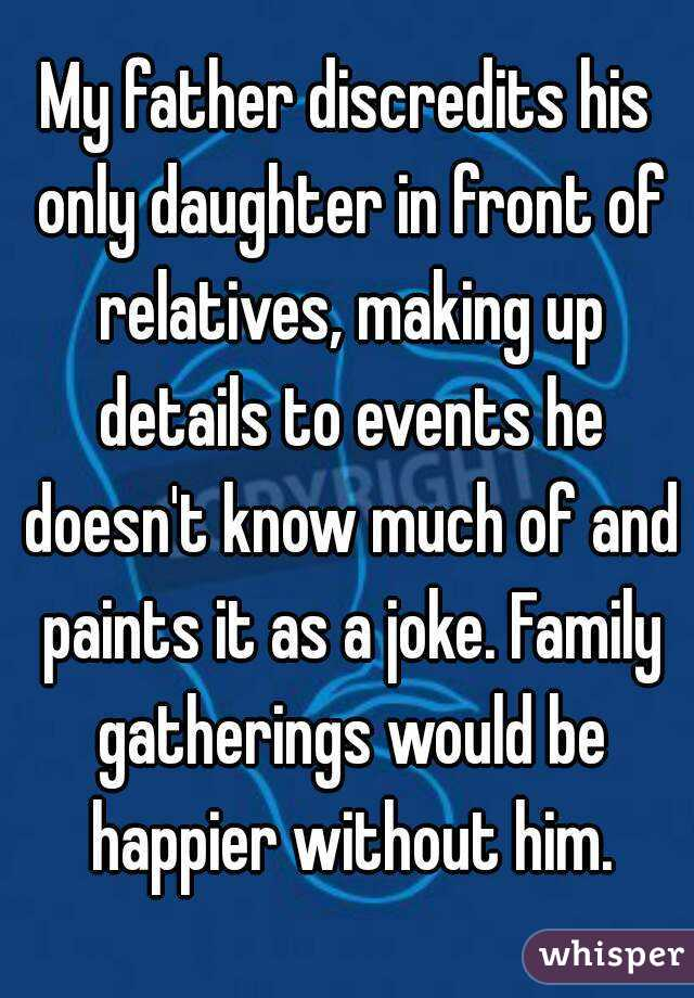 My father discredits his only daughter in front of relatives, making up details to events he doesn't know much of and paints it as a joke. Family gatherings would be happier without him.