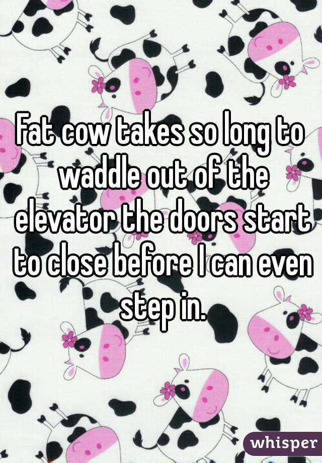 Fat cow takes so long to waddle out of the elevator the doors start to close before I can even step in.
