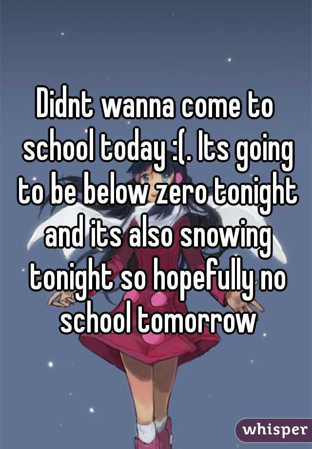 Didnt wanna come to school today :(. Its going to be below zero tonight and its also snowing tonight so hopefully no school tomorrow