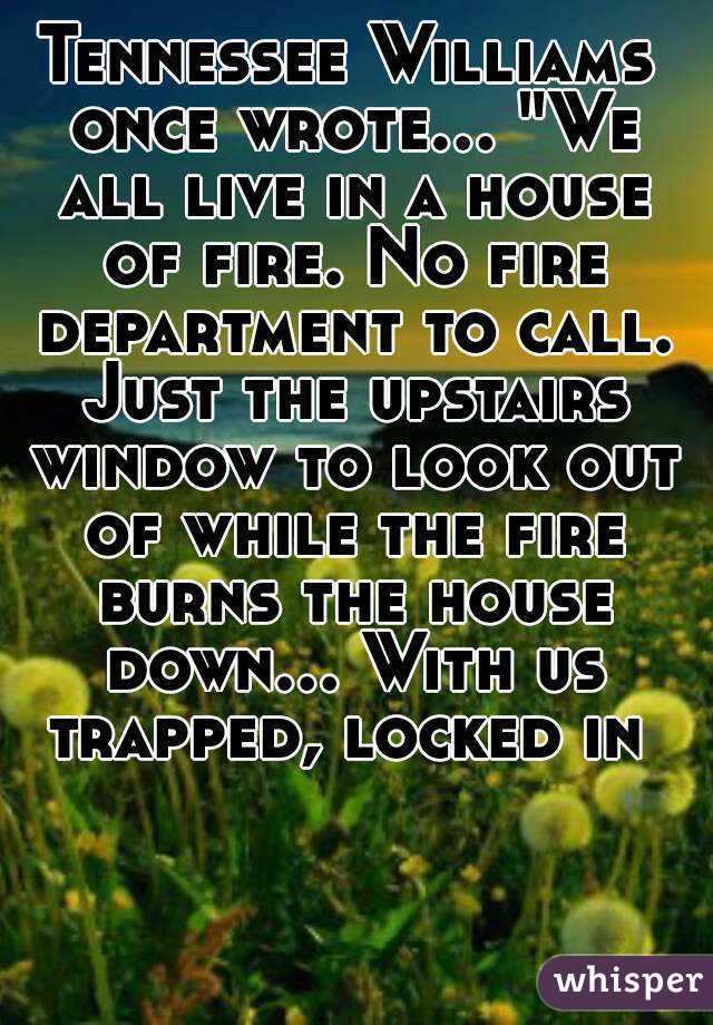 """Tennessee Williams once wrote... """"We all live in a house of fire. No fire department to call. Just the upstairs window to look out of while the fire burns the house down... With us trapped, locked in"""