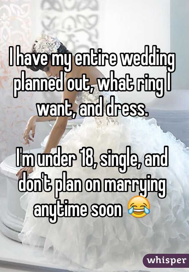 I have my entire wedding planned out, what ring I want, and dress.  I'm under 18, single, and don't plan on marrying anytime soon 😂