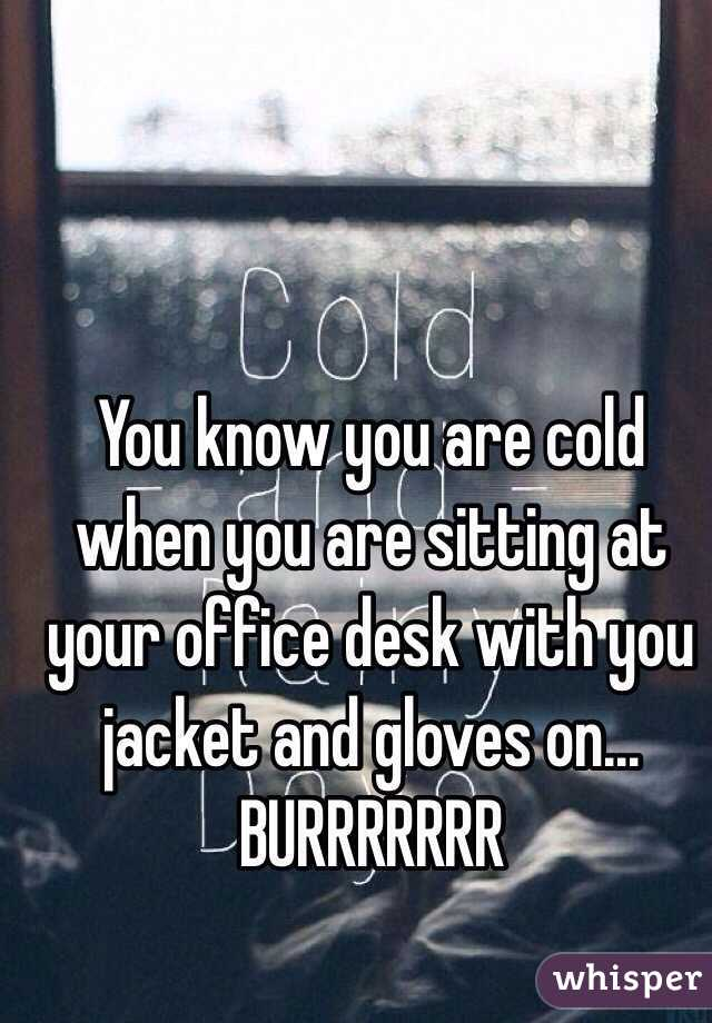 You know you are cold when you are sitting at your office desk with you jacket and gloves on... BURRRRRRR
