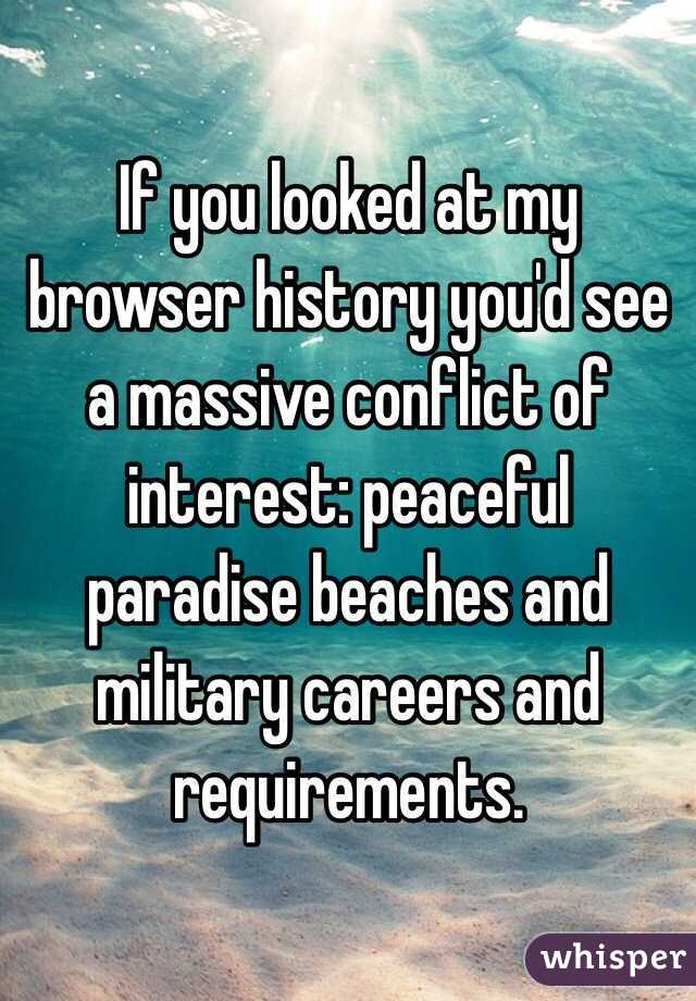If you looked at my browser history you'd see a massive conflict of interest: peaceful paradise beaches and military careers and requirements.