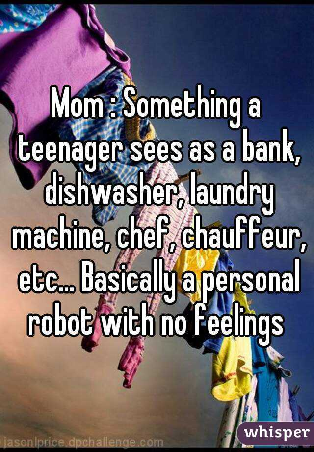 Mom : Something a teenager sees as a bank, dishwasher, laundry machine, chef, chauffeur, etc... Basically a personal robot with no feelings