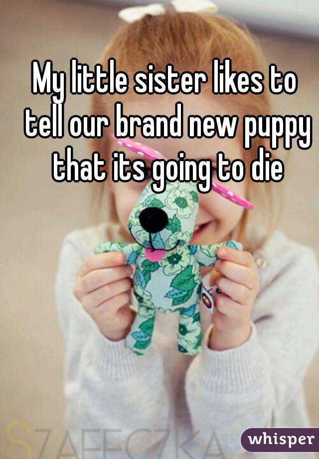 My little sister likes to tell our brand new puppy that its going to die