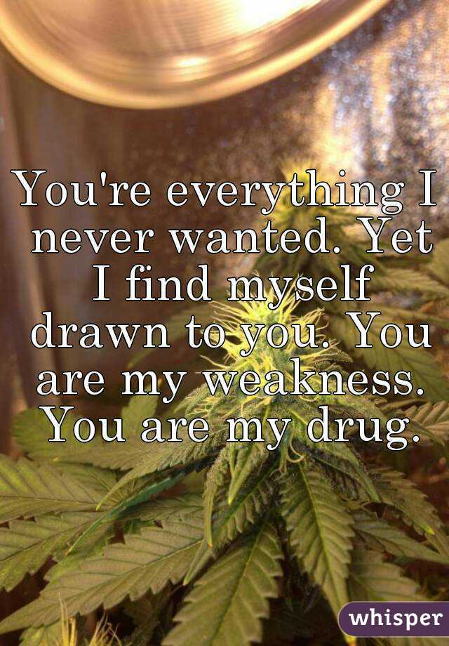 You're everything I never wanted. Yet I find myself drawn to you. You are my weakness. You are my drug.