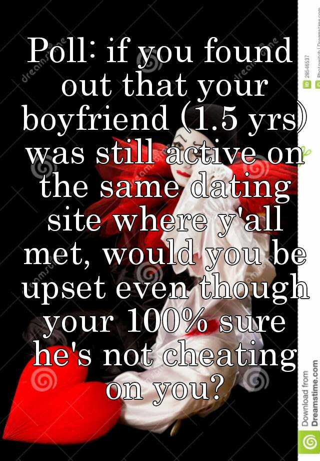 dating site boyfriend Finding out if your man is cheating on you by using internet dating sites is not that hard to do however, it can be time-consuming, especially if your guy is computer-savvy.