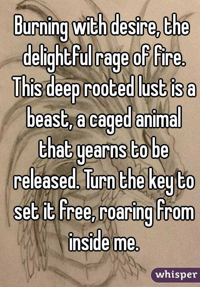 Burning with desire, the delightful rage of fire. This deep rooted lust is a beast, a caged animal that yearns to be released. Turn the key to set it free, roaring from inside me.