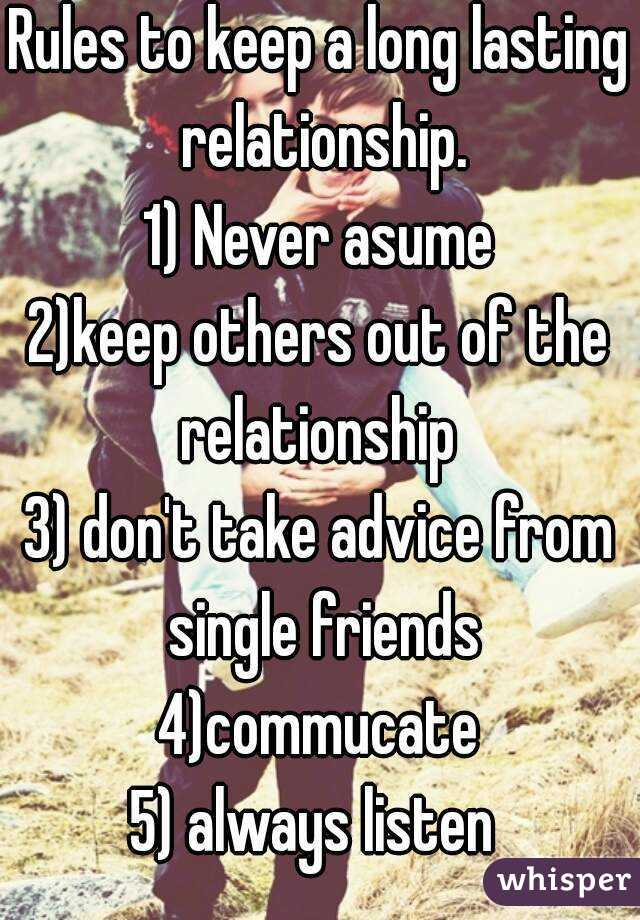 Ways to have a long lasting relationship