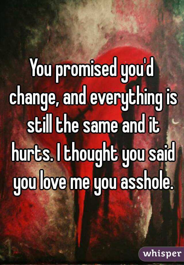 You promised you'd change, and everything is still the same and it hurts. I thought you said you love me you asshole.