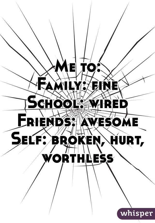 Me to:  Family: fine School: wired Friends: awesome  Self: broken, hurt, worthless