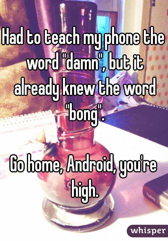 "Had to teach my phone the word ""damn"", but it already knew the word ""bong"".  Go home, Android, you're high."