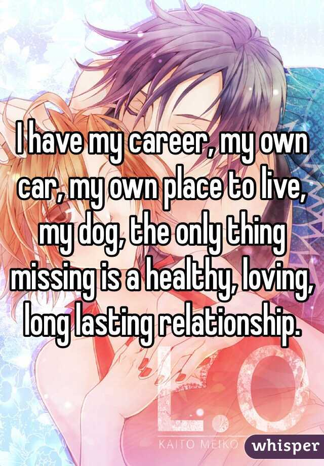 I have my career, my own car, my own place to live, my dog, the only thing missing is a healthy, loving, long lasting relationship.